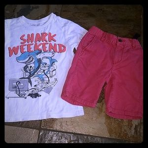 Boys size 6 shark weekend outfit